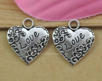 15pcs Love Heart Charms, 18x20mm Antique Silver Love Heart Charms Pendant, Jewelry Findings, Bracelet/Necklace Supplies