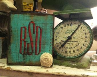 Distressed mod podged monogram wood block