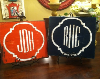 Painted and distressed monogram sign
