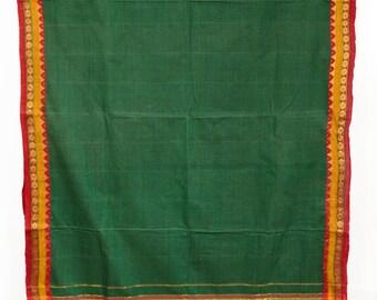 Green Fabric Saree Vintage Indian Textile Drapery Crafting Sarei  TP2879