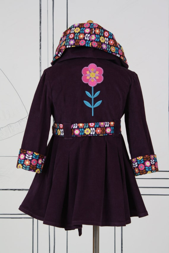 Girls Size 5 Coat Jacket with Belt Embroidered Flower Daisy Deep Plum Purple Corduroy Fall Autumn Winter Colors Back to School Ready To Ship