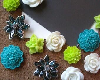 Pretty Flower Thumbtacks, 12 Push Pins, Teal, White and Lime Green, Bulletin Board Tacks, Wedding Decor, Gifts, Housewarming Gift