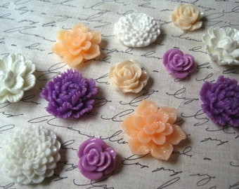Refrigerator Magnets, 12 pc Flower Magnets, Lilac, White and Peach, Housewarming Gifts, Hostess Gifts, Wedding Favors