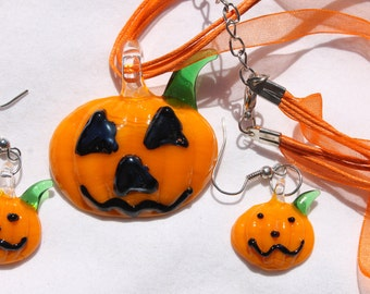 Halloween Glass Lampwork Glass Earring Necklace Holiday Jewelry Set