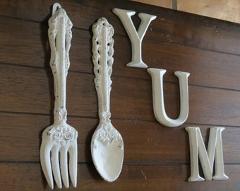 Shabby Chic kitchen wall décor/Antique White or Pick Your Color/ Fork and Spoon/Metal wall décor/Rustic décor