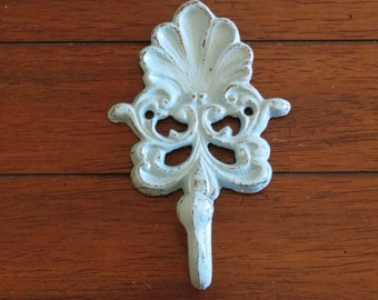Wall Hook / Cast Iron Hook / Key Hanger / Metal Wall Hook / Towel Holder / Vintage Cottage Country Style/ Aqua Blue or Pick Your Color