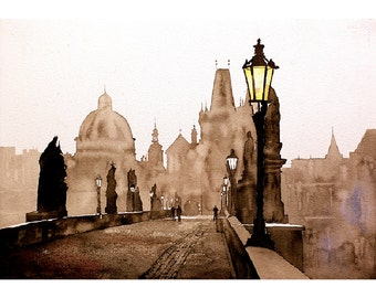 Prague Painting of Old Town on 16th century Charles Bridge in medieval city of Prague- Czech Republic art.  Watercolor painting.  Prague art