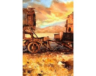 Wainting of rusted trains at Train Cemetery in Salar de Uyuni- Bolivia.  Art train watercolor landscape Bolivia painting fine art print