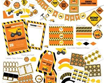 Under Construction Baby Shower invitation, Construction Invitation, Dump Truck, Tools Invitation, Baby Shower Party Package, Construction