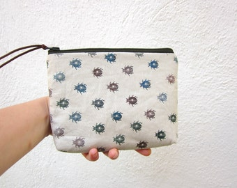 Cosmetics pouch, Purse, hand printed linen, Beetle stamp, Zipper pouch, naturalistic, bugs print, ombre colors