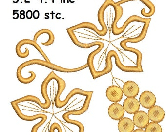 grapes and leaves Machine Embroidery Designs set - Three different design