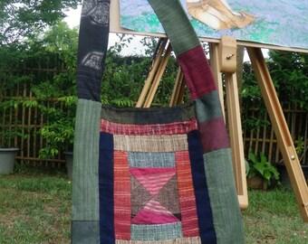 "Buddha Hippy Patchwork Bag, Shopping bag, Cotton bag, Thai bag, Zippered top 16"" x 15"" 009"