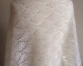 Mohair and Silk Lace Wedding Shawl in Ivory/Off White