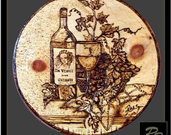 Boss gift,Retirement gift,kitchen art,Wife gift,wine lovers gifts,husband gift,Wood anniversary gift,Rustic art,wine  grapes art,wine art