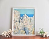 French 1960s signed oil painting : white cliff, seascape