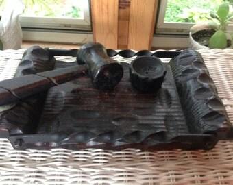 Vintage Wood Nut Bowl Wood and Wrought Iron Nut Bowl Midevil