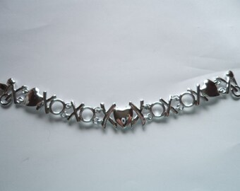 Vintage Signed AJC Silvertone Hugs and Kisses Bracelet