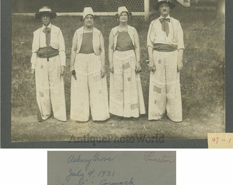 Lynn MA people dressed in newpaper rare antique photo