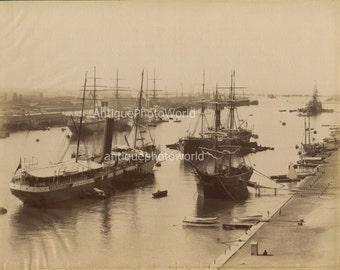 Port Said Egypt ships boats antique albumen photo