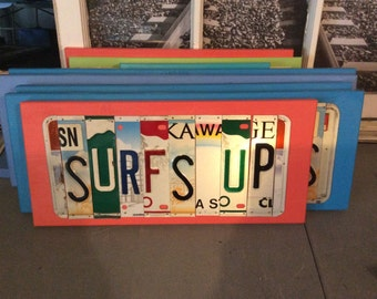 License Plate Sign License Plate letter Art Picture Home Deco SURFS UP License Plate Letter Sign License Plate Art