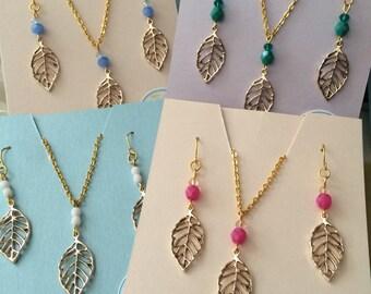 Leaflet's Gold Leaf Necklace/Earring Set