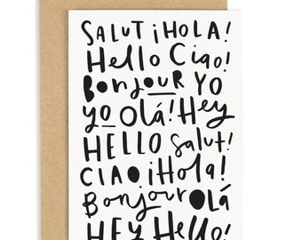 Hello Languages Card - bonjour card - ciao card - everyday greeting card - CC111