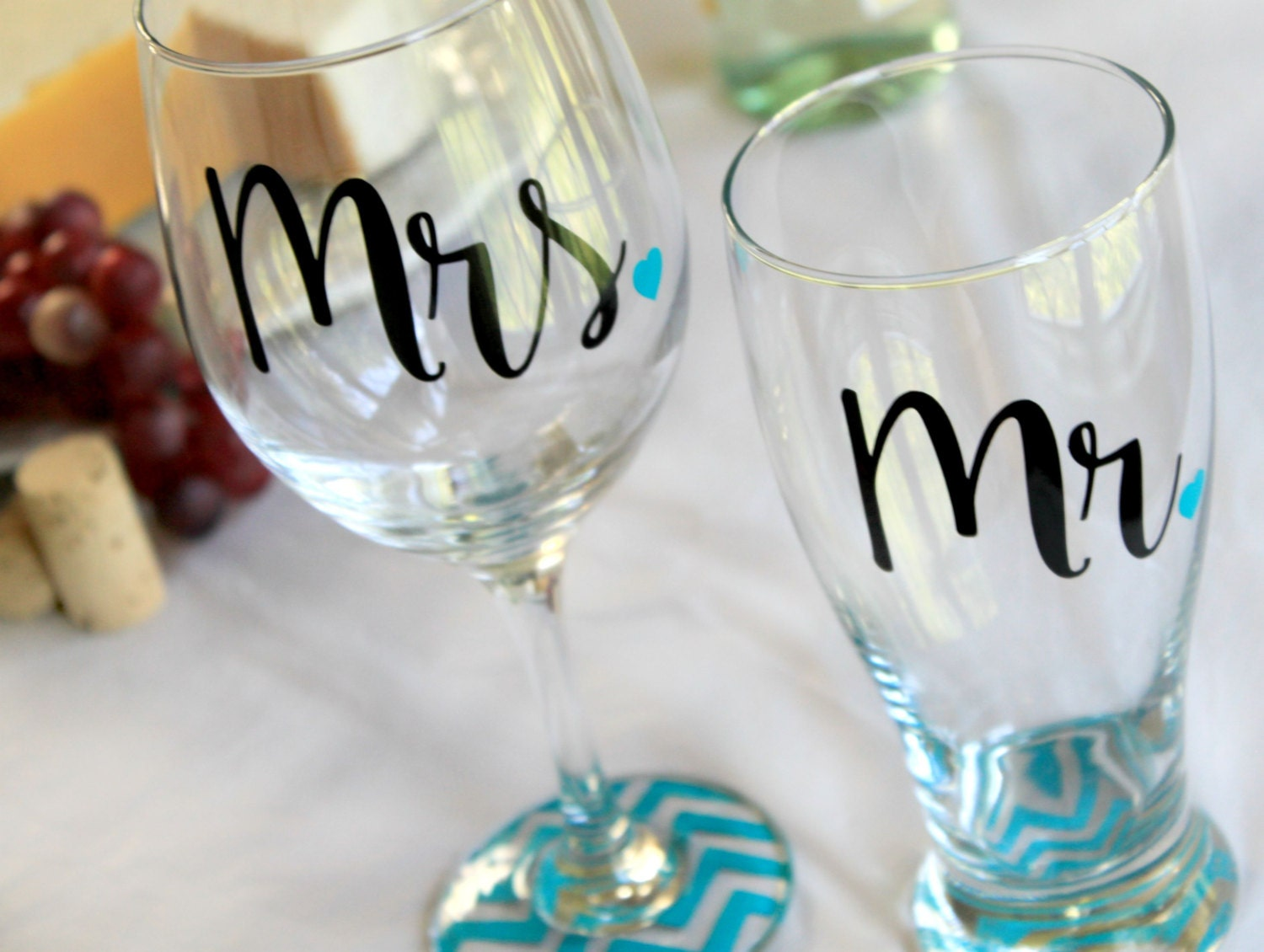 Practical Wedding Gifts For The Newlyweds: Wedding Gift Shower Gift Mr And Mrs Glasses Bride And