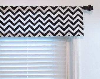 Black and White Valance  Chevron Zig Zag  Custom Sizing Available!