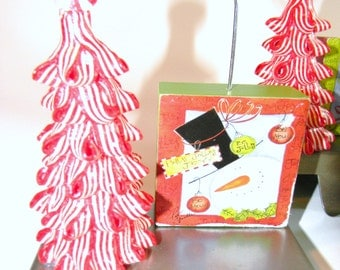 Resin Candy Cane Trees on Block Picture Holders