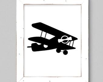 Black and White Airplane - Wall Print - Minimal - 8x10