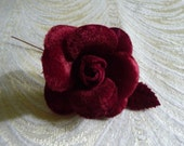 Small Velvet Rose Flower and Leaves in Red Wine Burgundy for Hats, Corsages, Brooch, Bouquets 4FN0101BU