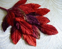 Velvet Millinery Leaves Large Red Plum Brown Ombre Beautiful Spray of 18 for Hats, Fascinators, Crafts 7LN0005R