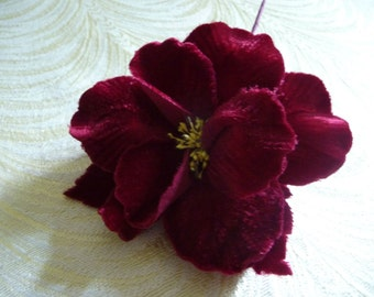 Velvet Rose Millinery Flower with Leaves Rich Wine Burgundy for Hats Headbands Fascinators Hair Clip Brooch 3FN0081BU