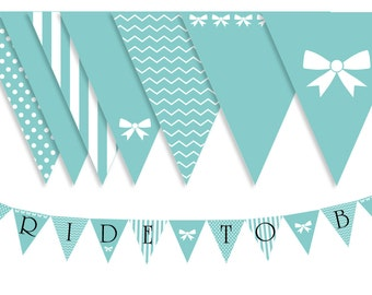 Customizable Digital Breakfast at Tiffany's Bridal Shower Printable Bunting Banners