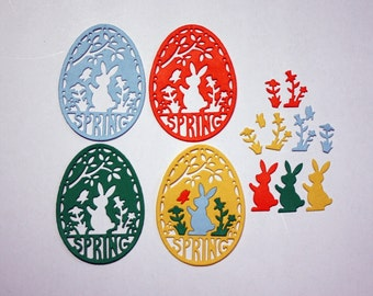 4 Cute Spring Die Cuts/Egg/Bunny/Die Cuts/Embellishments/Paper Cuts/Scrapbooking/Card Making/Easter