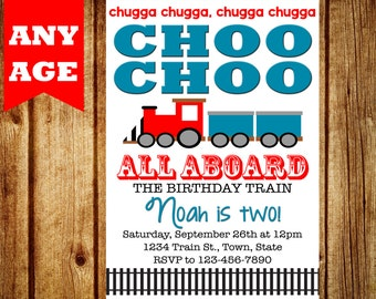 Train Invitation - Train Birthday Invitation - Printable Train Invitation, Train Party, Choo Choo Train Invitation, Boy Birthday, All aboard