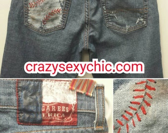 Baseball pockets Hand Painted Jeans Size 4 /27