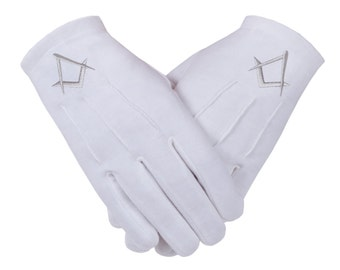 Freemasons Masonic Gloves in Cotton in Silver Embroidered S&C