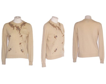 50s Sweater Vintage Cashmere Pullover Beige Floral Design S to M Free Domestic and Discounted International Shipping