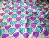 Echo  silk scarf purple hearts turquoise plaid unused vintage 26 inches square tags
