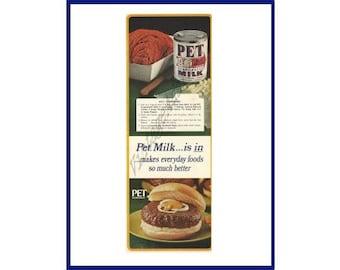 PET EVAPORATED MILK Original 1967 Vintage Color Print Ad - Hamburger Made with Canned Pet Evaporated Milk & Recipe