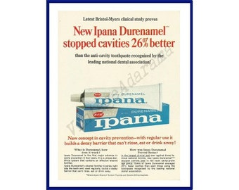 """IPANA TOOTHPASTE Original 1964 Vintage Color Print Ad - """"New Ipana Durenamel Stopped Cavities 26% Better"""""""
