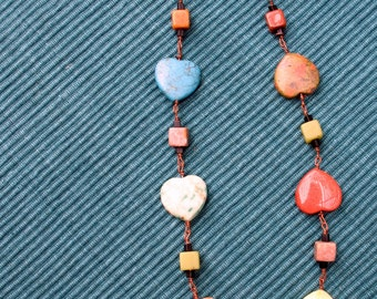 Hearts and Cubes Jasper Necklace 19 inches