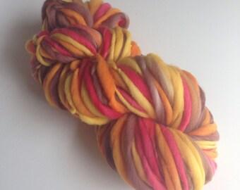 Handspun Thick and Thin Yarn, Merino, 50 yards, Autumn