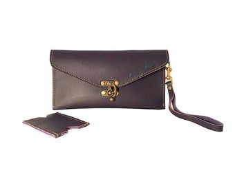 Petite Leather Clutch With Wristlet - Purple