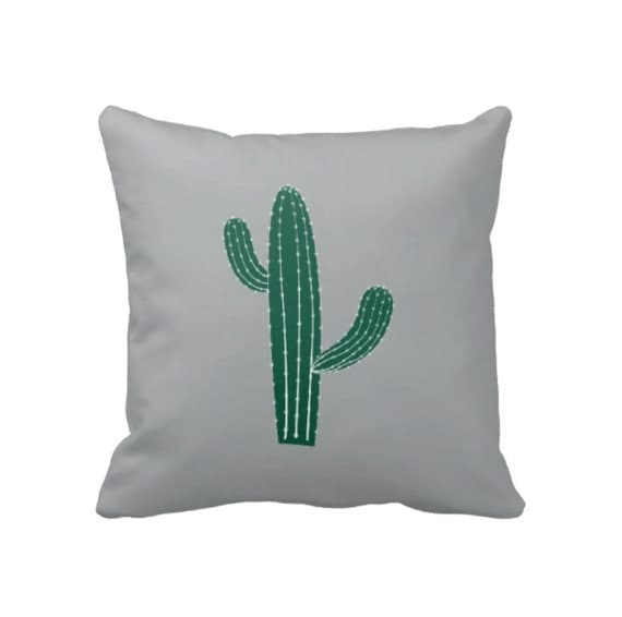 Cactus Throw Pillow & Cover-Custom-Grey and Hunter Green OR