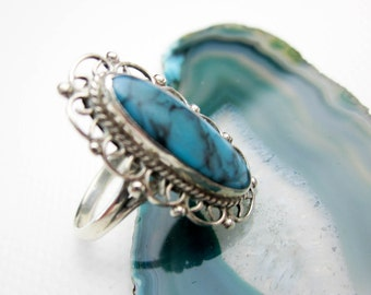 Genuine Turquoise & Sterling Filigree Ring, 1960s Turkey.
