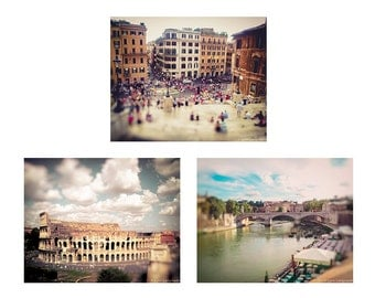 Rome Print Set - set of 3 prints 8x10 colosseum spanish steps piazza tiber river rust purple 11x14 travel photography rome wall art 5x7