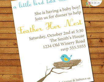 Feather Her Nest Baby Shower Invitation, Baby Bird Baby Shower, Printable, Customized