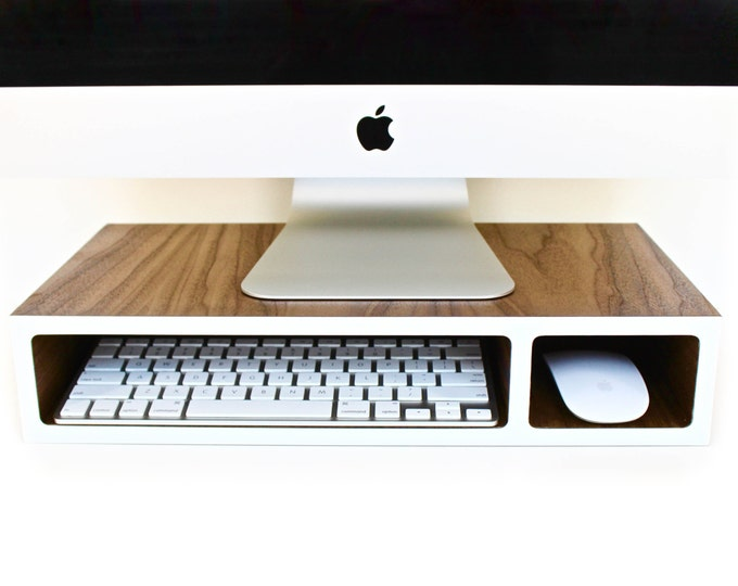 Featured listing image: Monitor Stand | Riser | Walnut + Colored Laminate | 3 sizes available | designed for Wireless Accessories | optional Wire Hole(s)